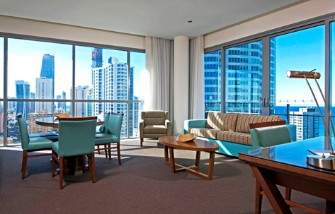 Two-bedroom ocean view deluxe apartment at Wyndham Surfers Paradise.